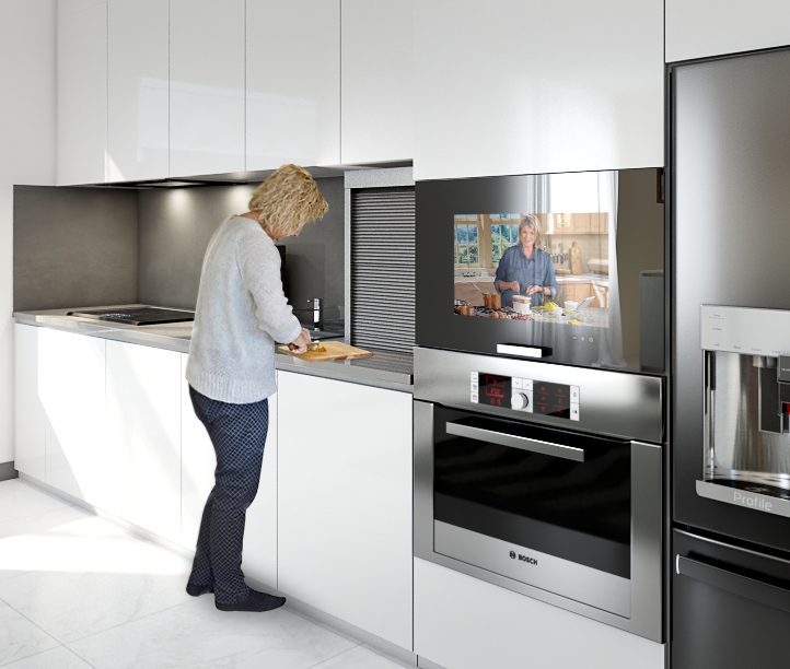 This sleek smart cabinet TV brings your kitchen to a new level.