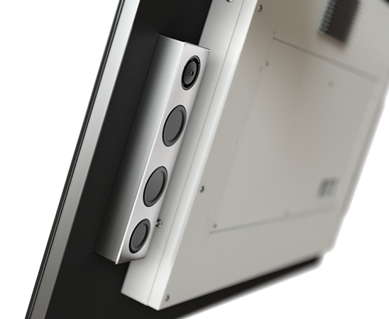 Built in speakers in this mirror kitchen TV. \
